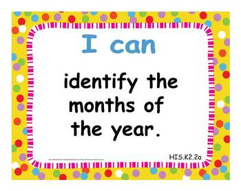 """2012 C Core Extended Standards """"I CAN"""" Statements K-2 Social Studies Special Ed"""