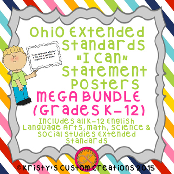 Common Core Extended Standards K-12 BUNDLE I Can Statement