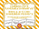 Common Core Extended Standards Math 6-8 I Can Statement Posters