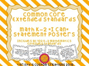 Common Core Extended Standards Math K-2 I Can Statement Posters