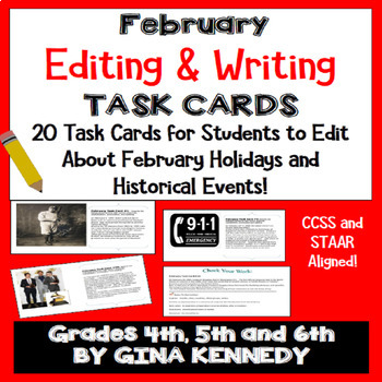 "February Themed ""Daily Editing"" Writing Task Cards, Fun History Integration!"