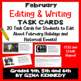 February Editing, Daily Writing Task Cards, Fun History Integration!
