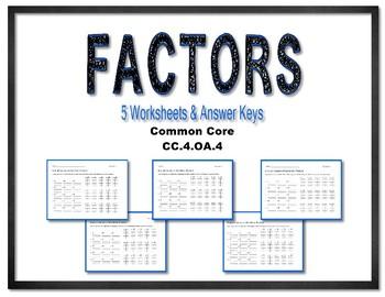 Common Core Factors of Numbers CC.4.OA.B.4