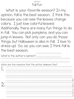 Fall Opinion Writing-Beginning to cite textual evidence using mentor texts