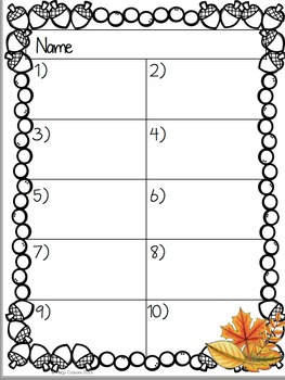 Common Core: Fall Story Problems