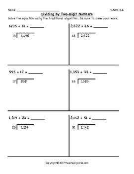 Common Core Fifth Grade Divide with Two-Digit Divisors 5.NBT.B.6