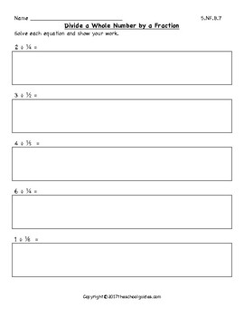Common Core Fifth Grade Division with Unit Fractions and Whole Numbers 5.NF.B.7