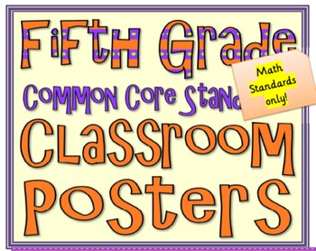 Common Core Fifth Grade Math Posters (I can . . . ) Modern Font
