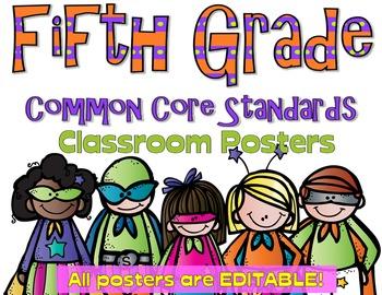 Common Core Fifth Grade Posters - Editable- (Superhero Edition)