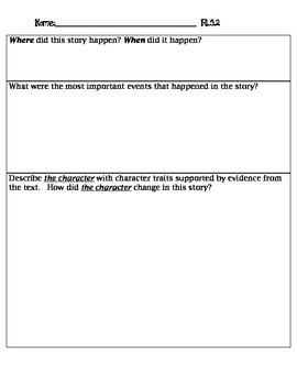 Common Core Fifth Grade RL5.2 Assessment