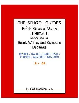 Common Core Fifth Grade Read, Write, and Compare Decimals 5.NBT.A.3