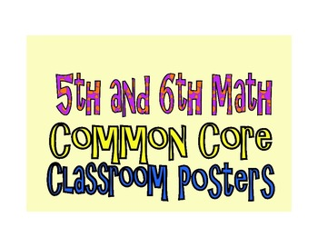 Common Core Fifth and Sixth Grade Math Posters