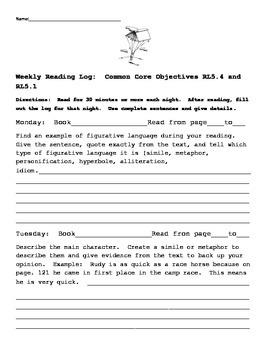 Common Core Figurative Language Reading Log 5th Grade RL5.4 and RL5.1