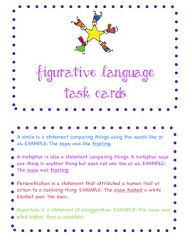 Common Core Figurative Language Task Cards