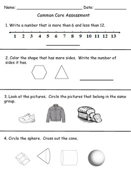Common Core Final Assessment- Kindergarten