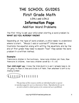 Common Core First Grade Addition Word Problems 1.OA.1 and 1.OA.2