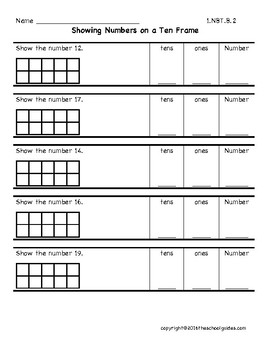 Common Core First Grade Counting Tens and Ones 1.NBT.B.2