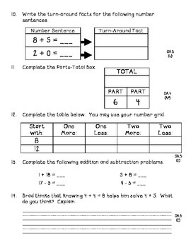 Common Core First Grade Cumulative Assessment - Pre-test