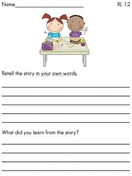 Common Core First Grade English Language Arts RL Assessment Pack