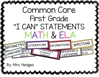 Common Core: First Grade I Can Statements