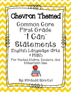 Common Core First Grade I Can Statements-ELA & Math-Chevro