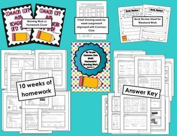 Common Core First Grade Language Arts and Math Homework-4th Quarter Bundle