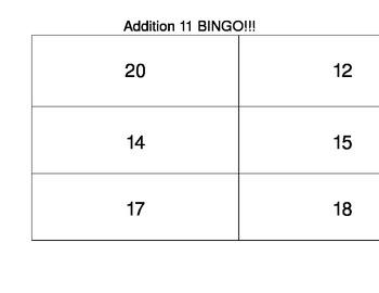 Common Core First Grade Math Bingo Addition 11 Facts
