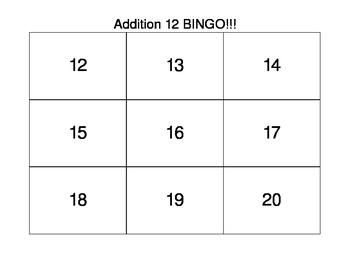 Common Core First Grade Math Bingo Addition 12 Facts