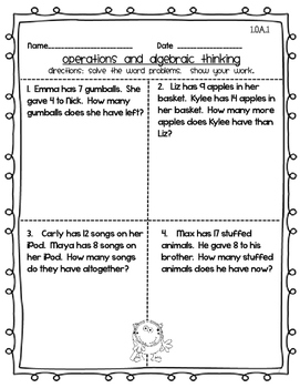 Common Core First Grade Math Bundle!  CCSS 1st Monster Theme