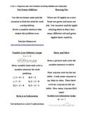 Common Core First Grade Math Menus 1.OA.1-8
