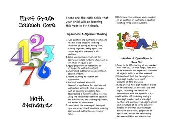Common Core First Grade Math Parent Brochure