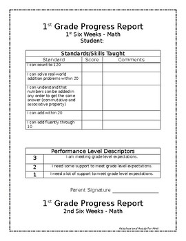 Common core first grade math progress reports editable tpt for First grade progress report template
