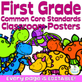 Common Core First Grade Posters - Editable- (Dinosaur Edition)