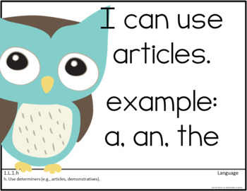Common Core First Grade Posters - Editable- (Owl Edition)