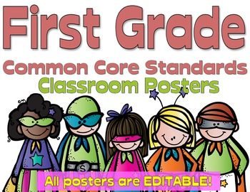 Common Core First Grade Posters - Editable- (Superhero Edition)