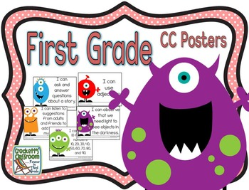 Common Core First Grade Posters (I can...) Monsters Edition