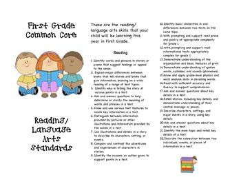 Common Core First Grade Reading/Language Arts Parent Brochure