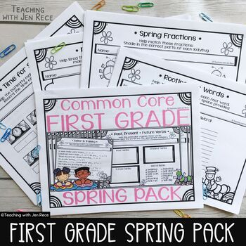 Spring Activities - Math & ELA Pack for First Grade - NO PREP! CCS Aligned