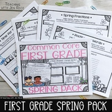 Spring Math & Literacy Pack for First Grade NO PREP,CCS Aligned