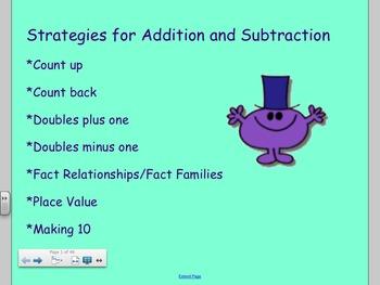 Common Core First Grade Strategies for Addition + Subtraction SmartBoard Lesson!