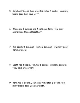 Common Core First Grade Sums to 10 word problems