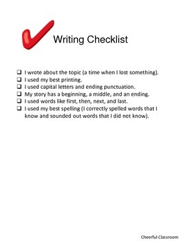 Common Core First Grade Writing Assessment