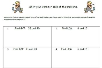 Common Core - Fishing for Greatest Common Factors and Least Common Multiples
