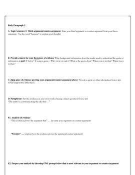 Common Core Five Paragraph Essay or Research Paper Graphic Organizers