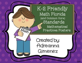 K-2 Common Core/Florida Math Standards Mathematical Practices Posters