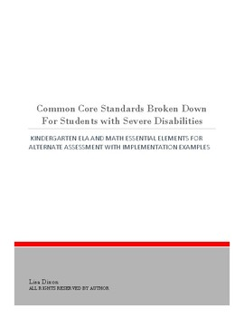 Common Core For Kindergarten Students With Severe Disabilities