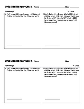 Common Core Formative and Summative Math Assessments Grade 7