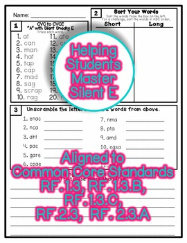 Common Core Foundational Skills: Silent E CVC to CVCE : Soft to Hard Vowels