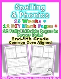 Editable Common Core Foundational Skills Word Work: Phonics & Spelling Homework