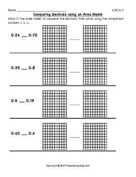 Common Core Fourth Grade Comparing Two Decimals 4.NF.C.7